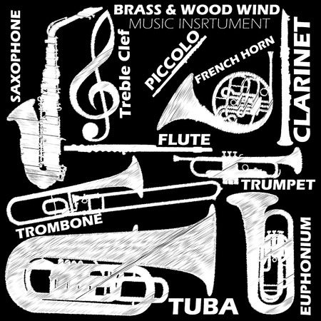 piccolo: Icons about woodwind and brasswind music instrument sketch by chalk on blackboard. In vector style