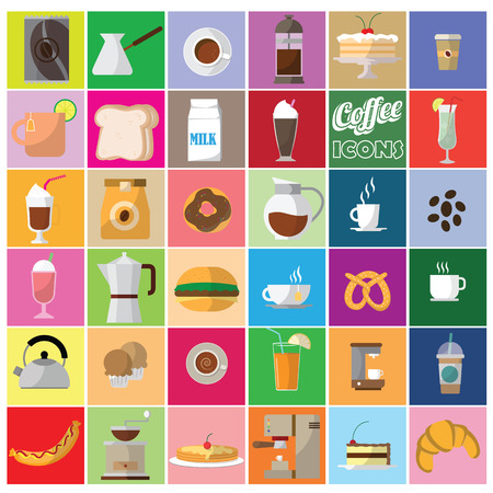 cold drinks: color coffee shop icons in color square. In vector style