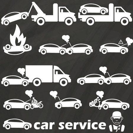 tow truck icons and car crash accident. In vector format Vettoriali