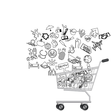 decrepit: Icons on Insurance was purchased in cart. Illustration