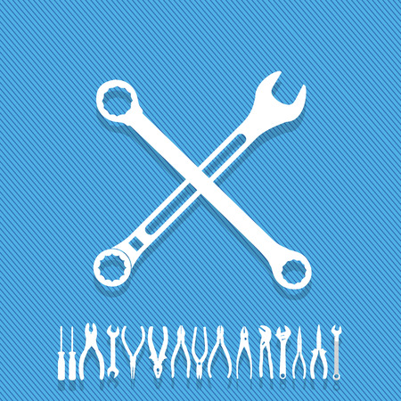 pipework: White wrench icon white cross on a blue background. Show symbolize repairs. In vector style Illustration