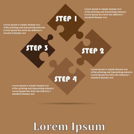 jigsaw pieces: Four-piece jigsaw Sort on a brown background. To add your text to complete. Illustration