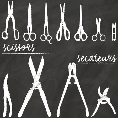 tree trimming: Scissors icon painted by hand from the chalk on the blackboard in the form of vectors.