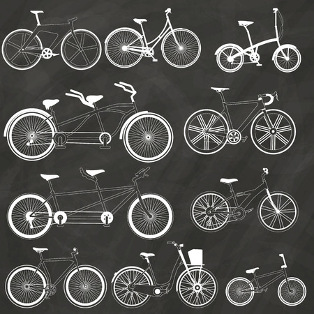 Bicycle icon hand drawn with chalk on a blackboard. In vector style.