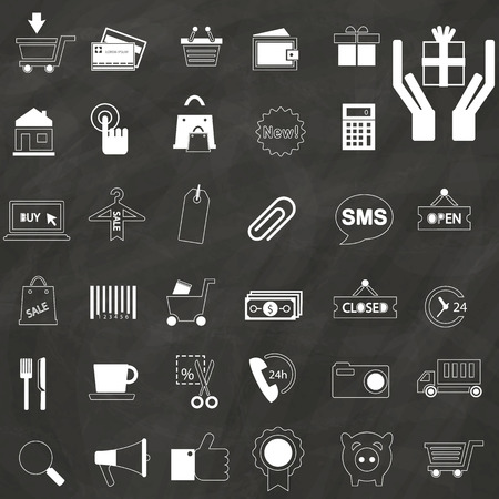 dealing: Icons used in dealing buy and sale white color. Placed on a chalkboard. In vector format.