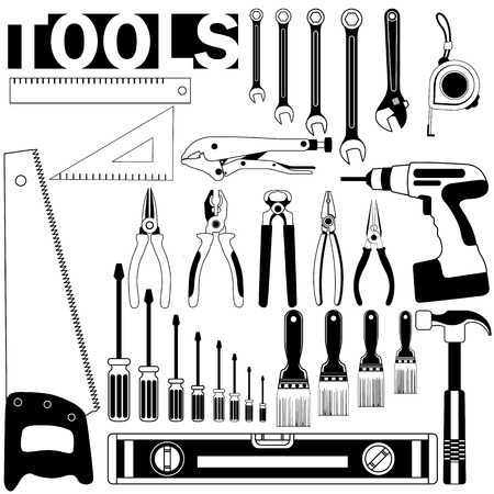 carpentry tools: Tools icon black stripes on a white background.In vector style.