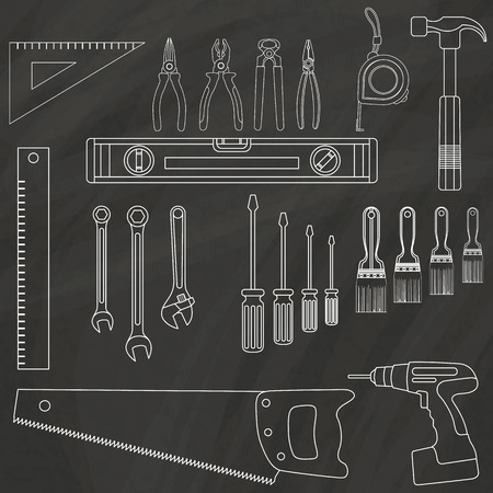 pincers: White stripes painted on the chalkboard as hand tools. In vector style. Illustration