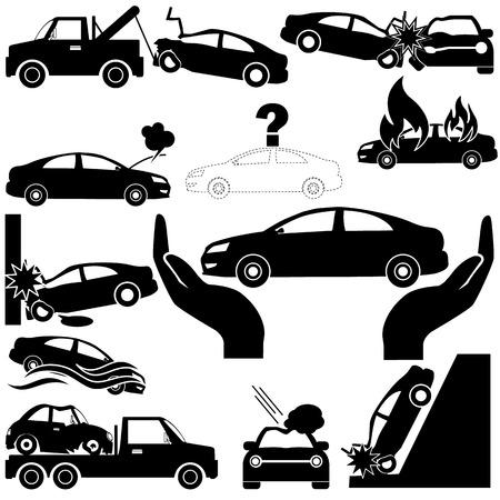 silhouette voiture: Accident de voiture et les icônes d'assurance automobile en silhouette. Dans le style de vecteur Illustration