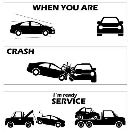 Auto-ongeluk en ongevallen in silhouet mode en vector stijl
