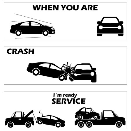 automobile insurance: Car crash and accident in silhouette mode and vector style