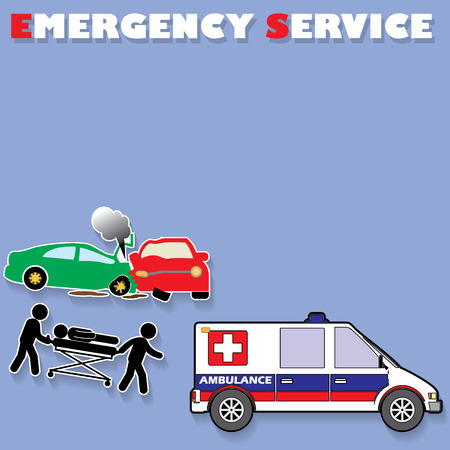 car crash: Color car crash sticker style and emergency service on a blue background. In vector format. Stock Illustratie