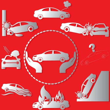 The silver color symbol on the car insurance  on a red background. In vector style.
