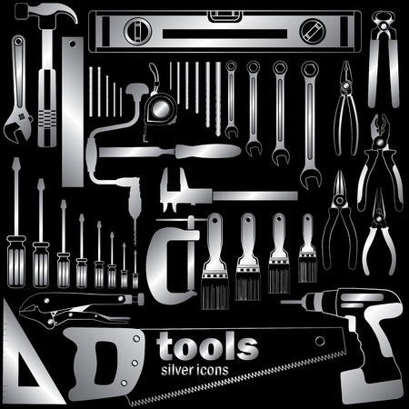 vernier: Silver color wrench and tools on dark background. In vector style.