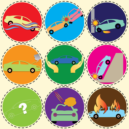 hailstorm: The symbol of the car insurance on color circle. In vector and illustration style. Illustration