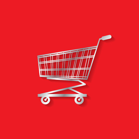 Silver color shopping cart are solo In center of red background. In vector format.