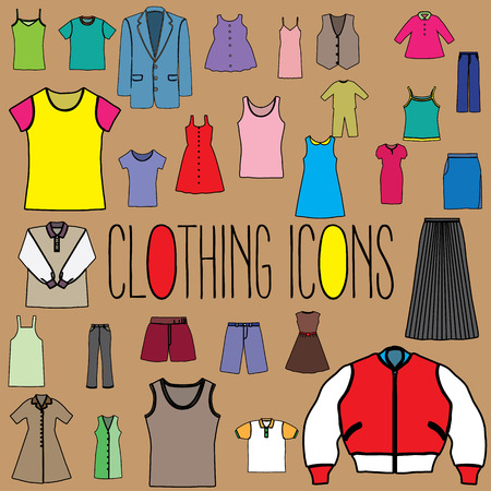 vestment: Clothing Icons color formats. In vector style. Illustration