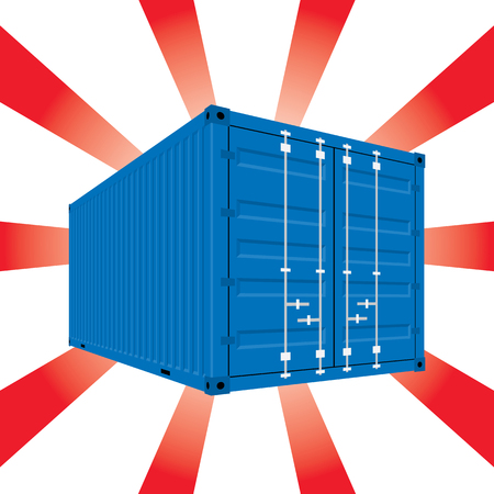 shipped: The Blue color Container On a white color and a sparkling red background. In vector style. Illustration