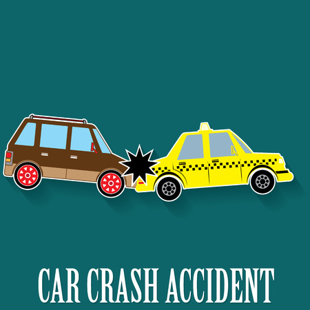 auto accident: car crash accident in color sticker mode and vector style. Illustration