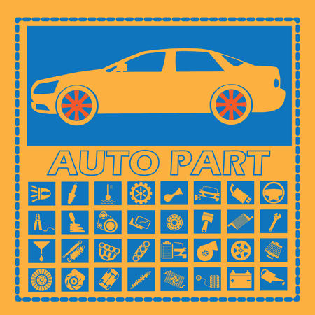 exhaust pipe: Cars and car parts in a blue rectangle on an orange background. In vector style. Illustration