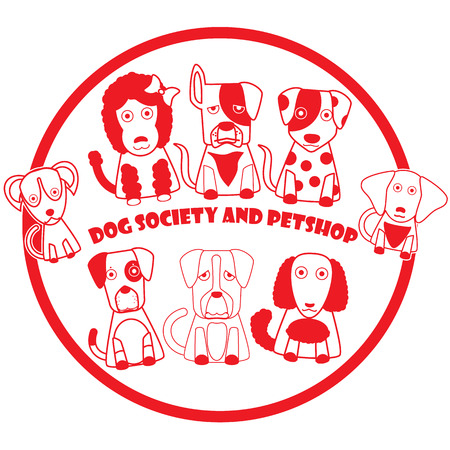 beware of the dog: Rubber stamp in red dog logo pattern. In vector style.