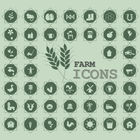 mowers: Icon for farming and agriculture on a green circle. In vector style.