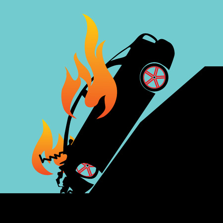 car crash: Car crash pole accident and burning car in Silhouette mode on vector style Stock Illustratie