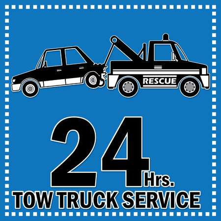 hrs: Towing truck vector sticker icon and 24 Hrs. Service banner. Illustration