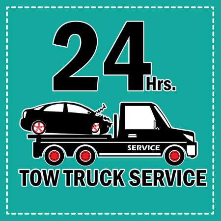 truck on highway: Towing truck vector icon and 24 Hrs. Service banner. In sticker style.