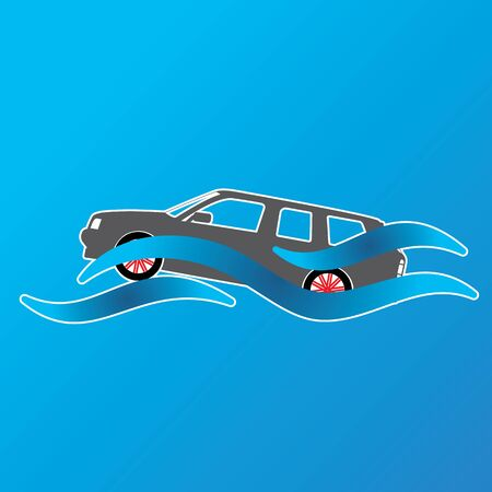 overflow: Symbol of a car submerged in a pool of water. In vector illustration format.