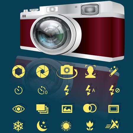 partial: C�maras digitales compactas y amarillas Opciones iconos para la c�mara. En el estilo del vector.