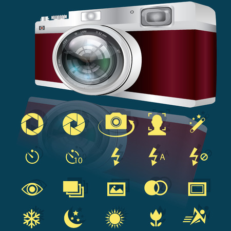 evaluative: Compact digital camera and yellow options icons for camera. In vector style.