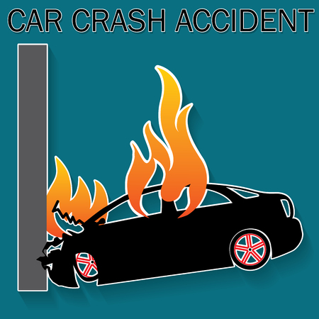 hailstorm: Car falling down crash accident and burning car in Silhouette mode on vector style