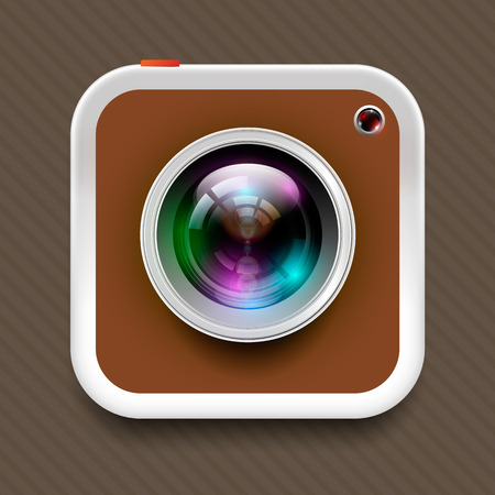 reflex: square camera icon and reflex lens on brown tone, In vector illustration format. Illustration
