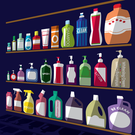 bottle icons posed stacked on rack. A light and shadow. In vector format. Illustration