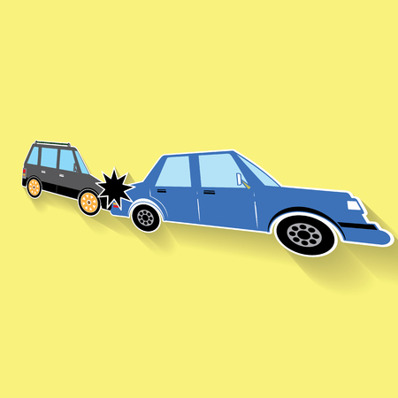 rear end: Symbol of car crash rear-end collisions icons posed on its side and yellow background. A light and shadow. In vector format.
