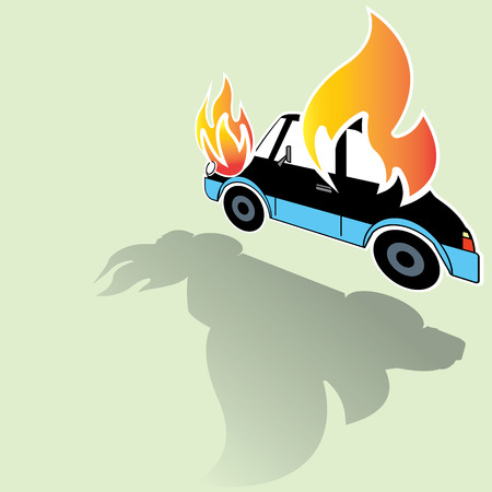 Symbol of burning car crash icons posed on its side and soft green background. A light and shadow. In vector format.