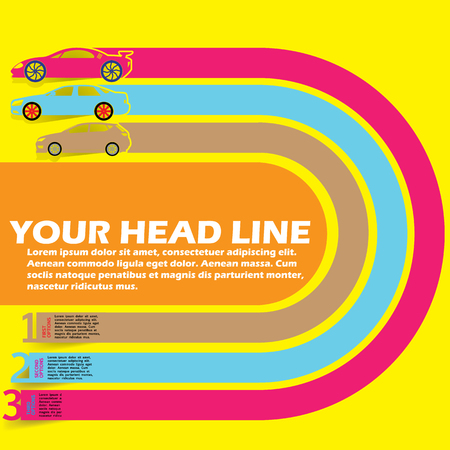 color race car transportation info graphics. In vector format.