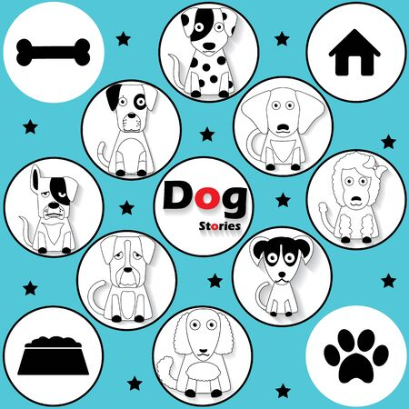 herder: black striped dog icons in circle and shadow. In vector format.