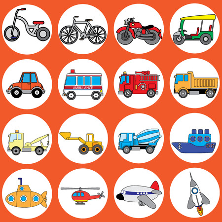 Cute vehicle types in the circle. In vector style. Illustration