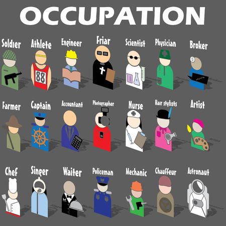 hustler: Sticker occupation icons posed stacked . A light and shadow. In vector format.