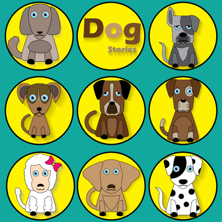 herder: color cartoon dog icons and shadow in yellow circle. vector illustrator format. Illustration