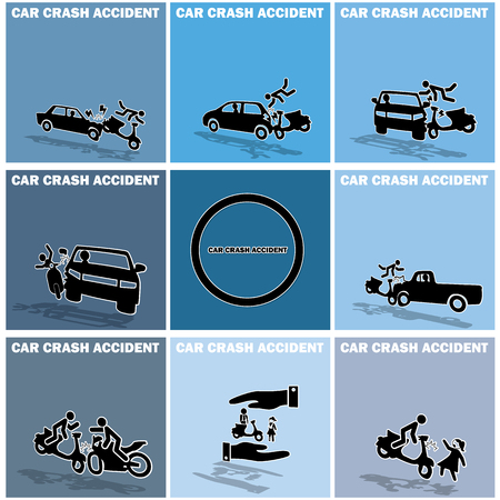 demolishing: shape accident between a motorcycle and a car in blue square. In form of vector.