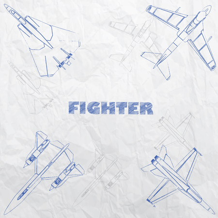 disegno a mano: L'aereo lotta disegno innovazione mano con inchiostro blu su carta vecchia. In formato vettoriale.