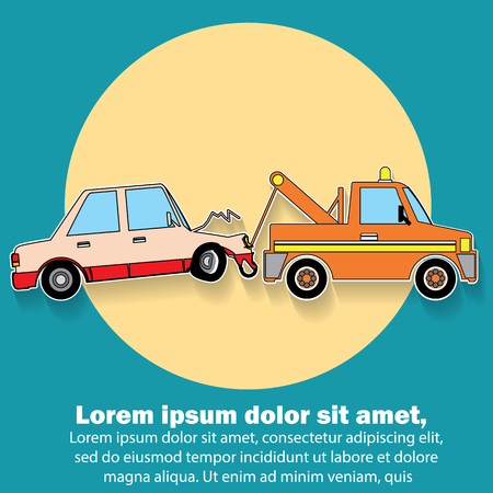 roadside assistance: Car crash damaged demolished towed by a emergency towing service In the form of stickers and vector style. Illustration