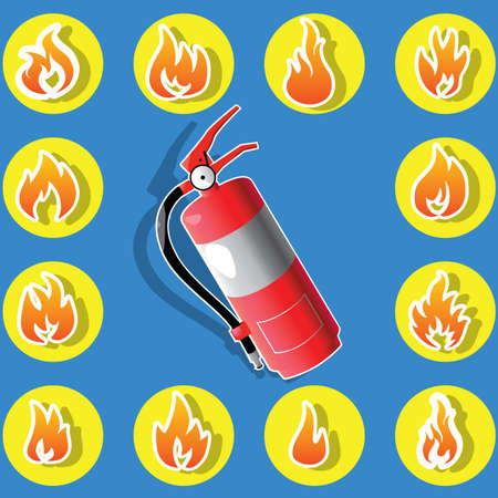 flame icons in yellow circle around Fire safety . In vector style. Illustration