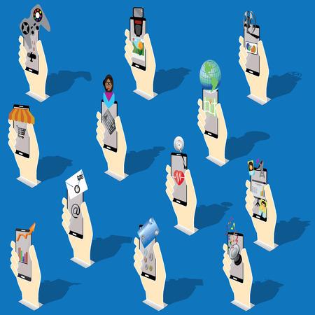 life style: Pop up main humaine tenant application spectacle smartphone sur son style de vie est plac� sur le c�t� et de l'ombre. En format vectoriel Illustration