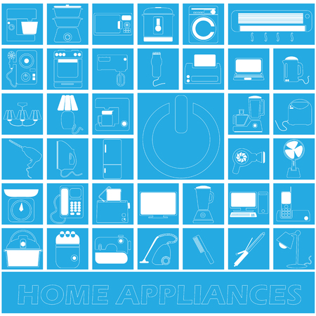 plucking: White stripe home appliances in blue square in vector style