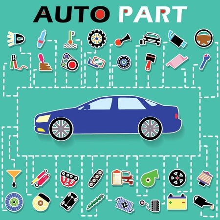 Cars and car parts sticker info graphic on a green background and Perforated line navigation to car. In vector style.