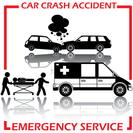 fault: Shape car crash and emergency service and Reflections on a background. In vector format. Illustration