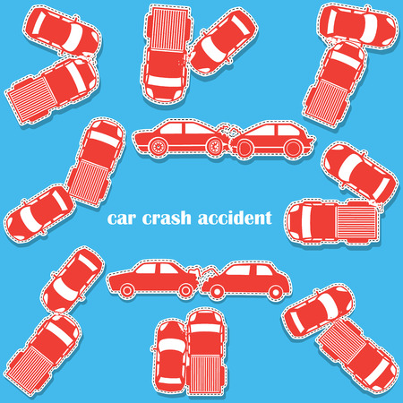 car crash: car crash icons in sticker format and vector style Stock Illustratie